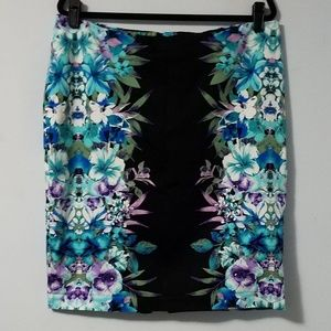 Sweet Roz&Ali blue purple floral pencil skirt, 16